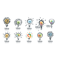 a set of drawn logos in the shape of lamps vector image