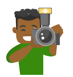 African-american photographer taking a photo vector