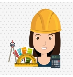 Architect woman tools icons vector