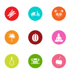 Asia inventory icons set flat style vector