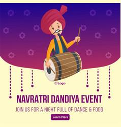 Banner design happy navratri dandiya event vector