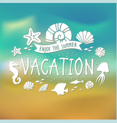 banner for summer vacation on tropical beach vector image