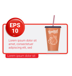 Banner with plastic fastfood cup for beverages vector