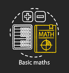 basic maths lesson chalk concept icon textbook vector image