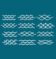 blue simple water line waves vector image