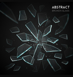 Broken glass flying fragments dark background vector