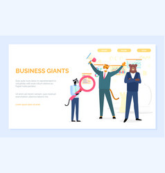 Business giants hipster animals with research vector