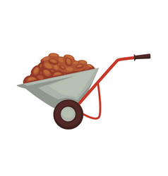 cart of farmer with harvest products organic vector image