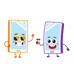 Cartoon mobile phone characters wearing vector