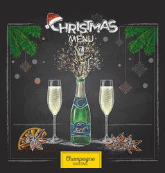 Chalk drawing holiday christmas champagne glasses vector