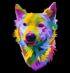 Colorful head dog on pop art style vector