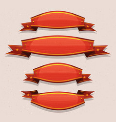 comic red circus banners and ribbons vector image