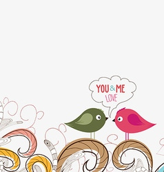 Couple of cute birds doodle floral design vector image