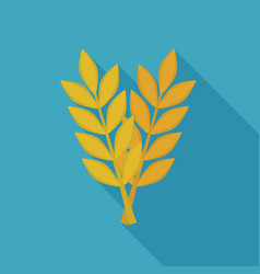 crossed ears of wheat or barley icon in flat long vector image