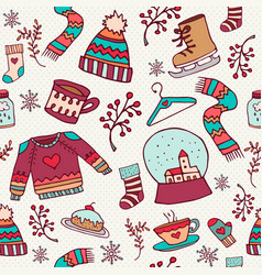cute christmas holiday doodle seamless pattern vector image