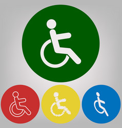 disabled sign 4 white styles vector image
