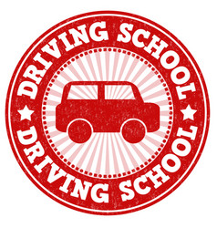 Driving school stamp vector