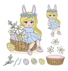 easter baby cartoon set vector image