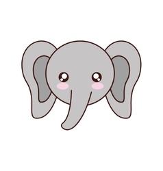 Elephant kawaii cute animal icon vector