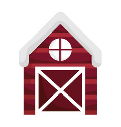 farm wooden barn isolated icon on white background vector image