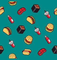 fast food outline color isometric pattern vector image