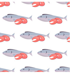 fish and shrimps seamless pattern on white vector image