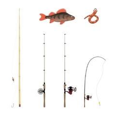 fishing rods on a white background vector image