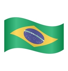 Flag of Brazil waving on white background vector image