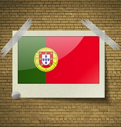 Flags Portugalat frame on a brick background vector image vector image
