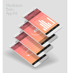 flat design responsive ui mobile app with 3d vector image