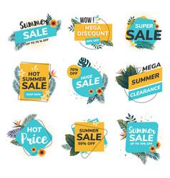Flat design summer labels vector
