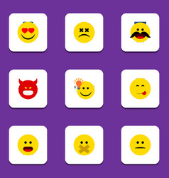Flat icon expression set of cross-eyed face have vector