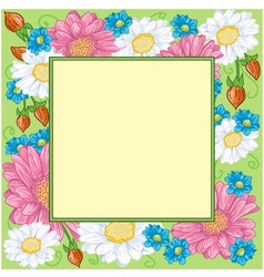 Floral frame with chamomiles vector image