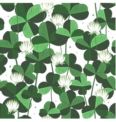 floral seamless pattern with clover leaves vector image