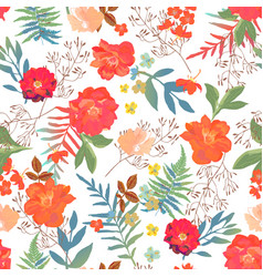 flowers seamless pattern hand drawn for print vector image