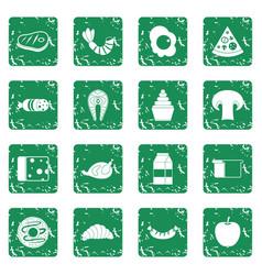 Food icons set grunge vector