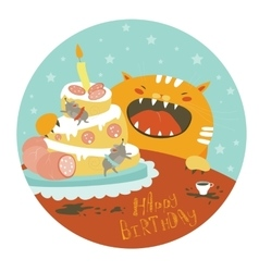 Funny cat and big cake with mouse vector