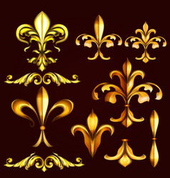 Golden swirls and fleur de lis vector