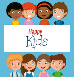 group of happy kids characters vector image