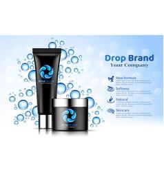 Hand cream black tube bottle blue drop background vector
