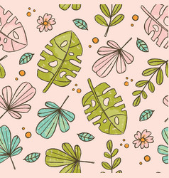 hand drawn leaves pink tropical grunge style seaml vector image