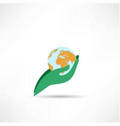 hand holding globe icon vector image