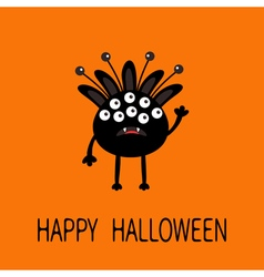 Happy Halloween greeting card Black silhouette vector