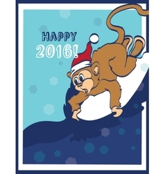 Happy Surfing New Year Monkey Holiday vector
