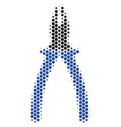 hexagon halftone pliers icon vector image