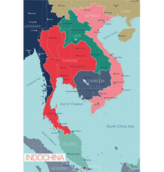 indochina detailed editable map vector image