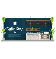 Interior background modern coffee shop vector