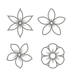 Jasmine Flower Icons Set on White Background vector