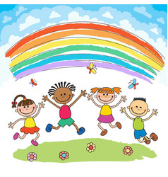 Kids jumping with joy on a hill under rainbow vector