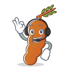 Listening music tamarind mascot cartoon style vector